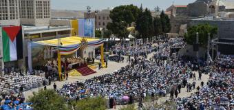 البابا فرنسيس يحتفل بالقداس الإلهي في ساحة المهد ببيت لحم