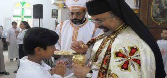 البطريرك إبراهيم اسحق يترأس المناولة الاحتفالية بكنيسةالعذراء مريم بقويسنا